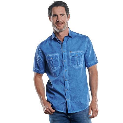 Hemd mit Waschungen Engbers Wasserblau