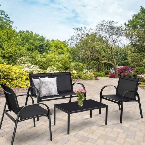COSTWAY 4 TLG. Terrassenmoebel, Lounge Set Textilene, Gartenmoebel Garten Lounge Set Sitzgruppe