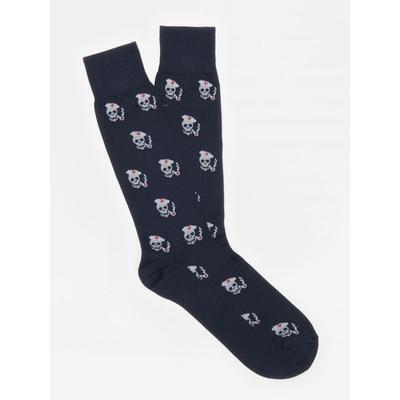J.McLaughlin Men's Skull Pipe Socks Navy Blue Conversation Motif