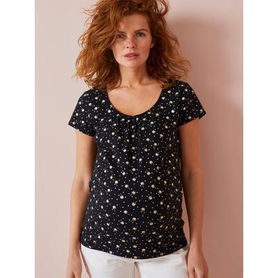 Bedrucktes Umstands-T-Shirt, Glanzakzente schwarz/kleine palmen Gr. 40/42 von vertbaudet