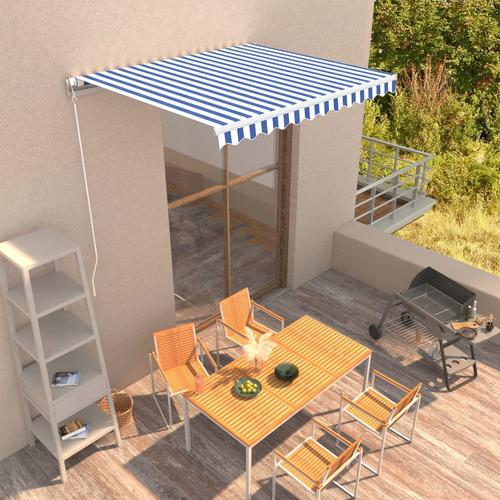 vidaXL Einziehbare Markise Handbetrieben 300 x 250 cm Blau und Weiß