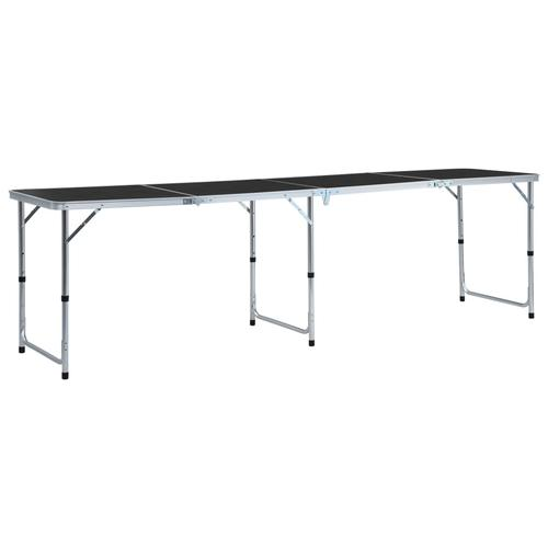 vidaXL Klappbarer Campingtisch Grau Aluminium 240 x 60 cm
