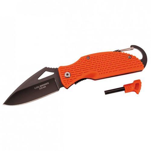 Herbertz - Einhandmesser mit Feuerstarter - Messer schwarz/orange