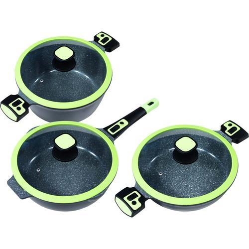 KING Pfannen-Set Click-Grip, (Set, 3 tlg.), Induktion, (Servierpfanne, Bratpfanne, Kochtopf) grün Pfannensets Pfannen Haushaltswaren