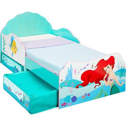 Kinderbett mit 2 Ablageboxen, Disney Princess Ariel, 70 x 140 cm türkis
