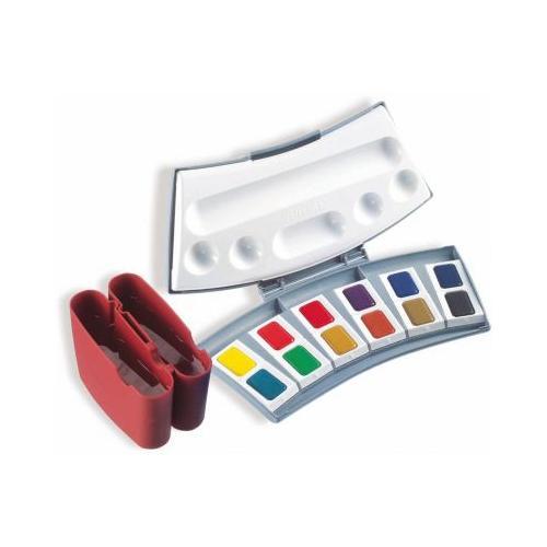 Aquarellmalkasten, 12 Farben, inkl. Zubehör rot