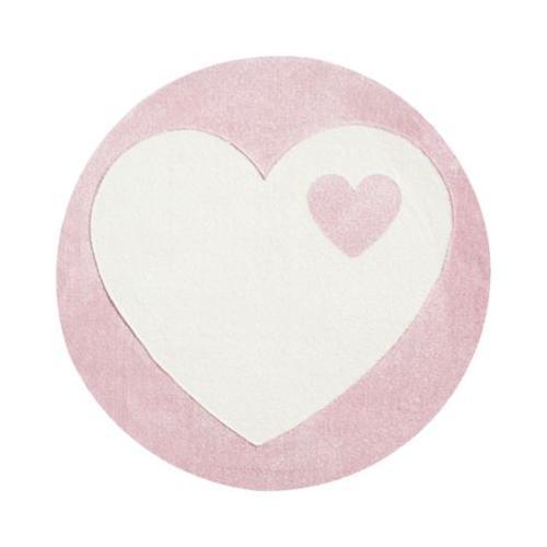 Kinderteppich byGraziela, HERZ rosa/weiss, 133 cm rund rosa/weiß