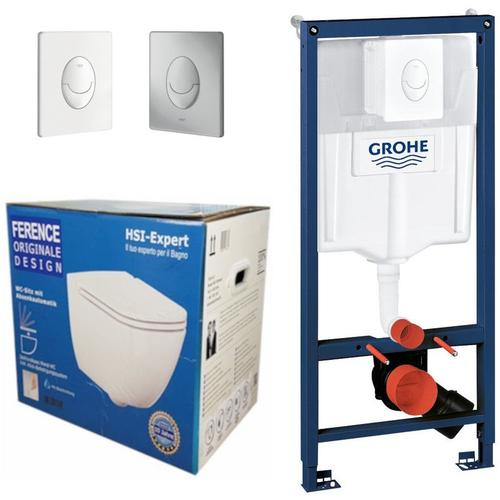 Rapid 3in1 + Ference WC + Drückerplatte + WC-Sitz Chrom - Grohe