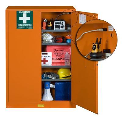 Justrite 860002 4 Shelf Emergency Preparedness Storage Cabinet w/ Power Strip - Steel, Orange