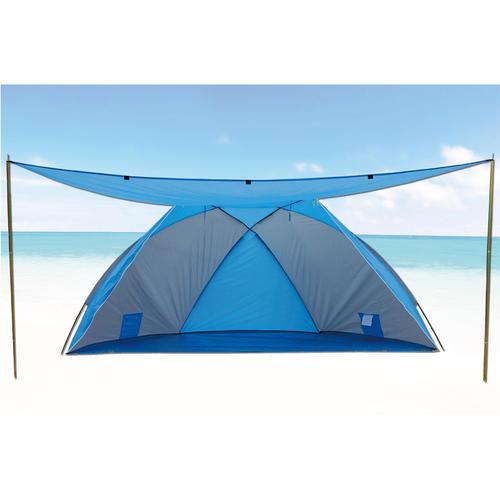 EXPLORER Strandmuschel mit Sonnendach blau Sonnenschutz Insektenschutz Camping Schlafen Outdoor