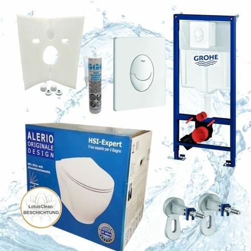 Rapid 3in1 + Alerio WC + Drückerplatte + WC-Sitz Chrom - Grohe