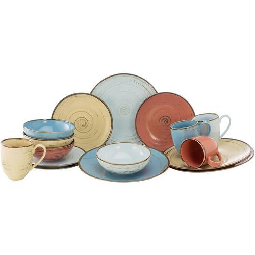 CreaTable Kombiservice Cottage Brush, (Set, 16 tlg.), 4 Farben im Set bunt Geschirr-Sets Geschirr, Porzellan Tischaccessoires Haushaltswaren