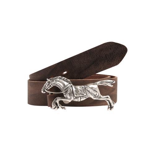 RETTUNGSRING by showroom 019° Ledergürtel, mit austauschbarer Rennpferd-Schließe braun Damen Ledergürtel Gürtel Accessoires
