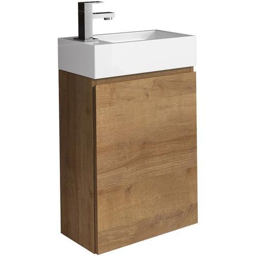 WC Badmöbel Angela 40x22 cm Eiche - Schrank Waschbecken Badezimmer Toilette