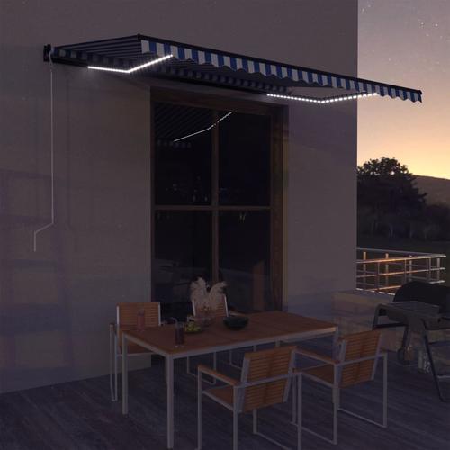 vidaXL Markise mit Windsensor & LED 450x300cm Blau und Weiß
