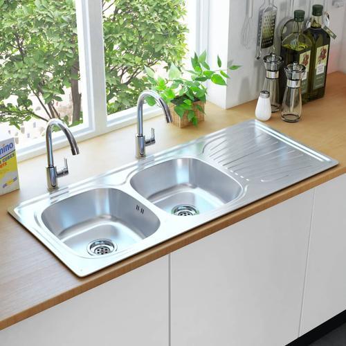 vidaXL Küchenspüle Doppelbecken mit Sieb & Siphon Edelstahl