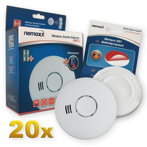 20x Nemaxx HW-2 Funkrauchmelder Rauchmelder Hitzemelder mit kombiniertem Rauch- und Thermosensor