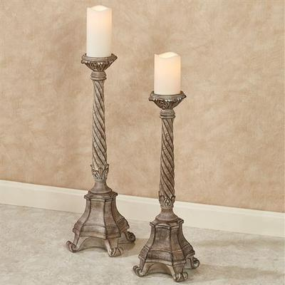 Andreana Floor Candleholders Taupe Set of Two, Set of Two, Taupe