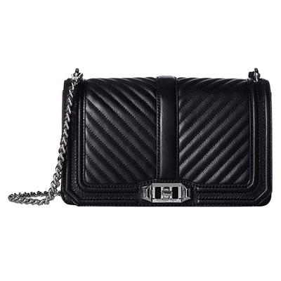 Rebecca Minkoff Chevron Quilted Love Crossbody (Black 2) Cross Body Handbags