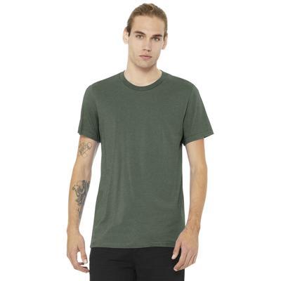 Bella + Canvas 3001CVC Heather CVC T-Shirt in Military Green size XL | Rayon/Polyester Blend