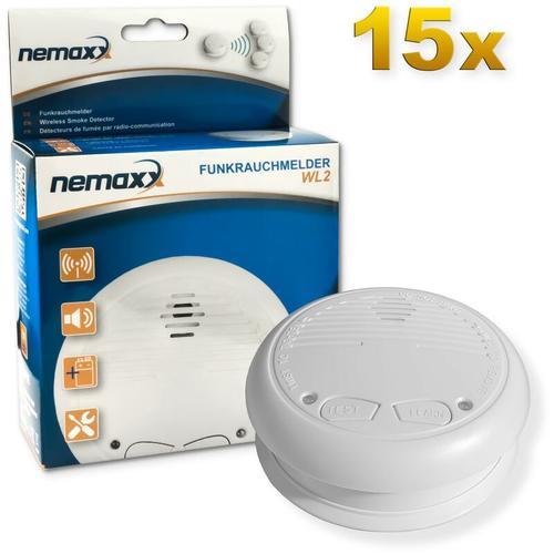 15x Nemaxx WL2 Funkrauchmelder - hochwertiger Rauchmelder Brandmelder Set Funk koppelbar vernetzt