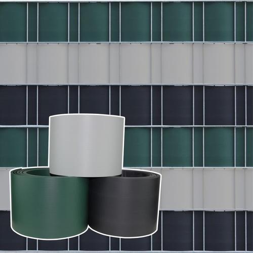 Sichtschutzstreifen aus formstabilem PVC in grün - 10 Streifen