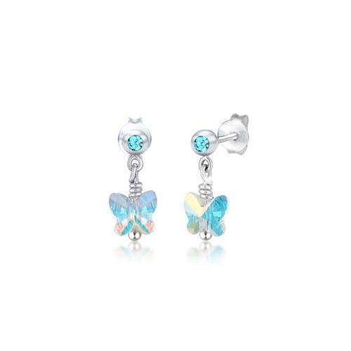 Ohrringe Kinder Schmetterling Kristalle Silber Ohrhänger hellblau Mädchen Kinder
