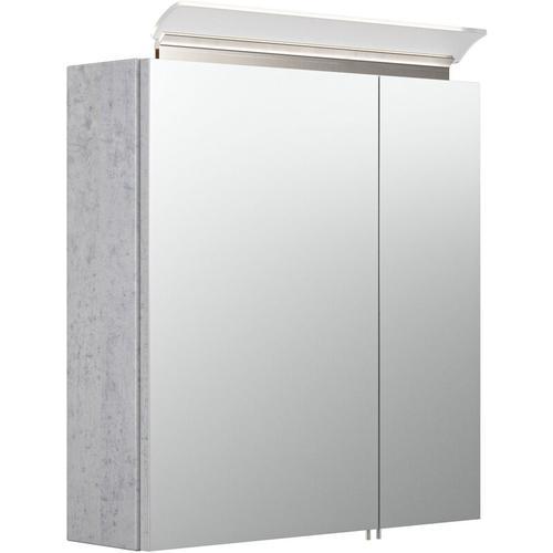 Spiegelschrank 60cm inkl. Design LED-Lampe und Glasböden beton
