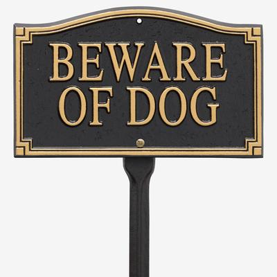 "Beware of Dog"" Statement Marker by Whitehall Products in Black Gol"