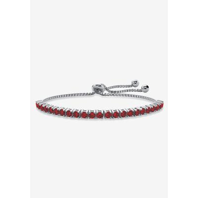 """Silver Tone Bolo Bracelet (4mm), Simulated Birthstone 9.25"""" Adjustable by PalmBeach Jewelry in January"""