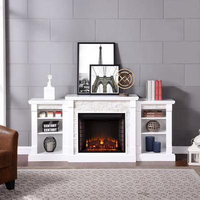 Gallatin Simulated Stone Electric Fireplace with Bookcases by BrylaneHome in White