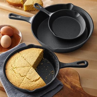 3-Pc. Cast Iron Skillet Set by BrylaneHome in Black