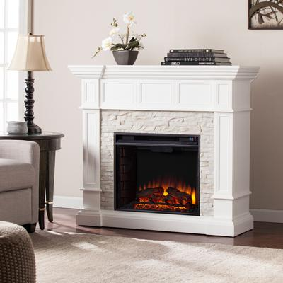 Merrimack Corner Convertible Electric Fireplace by BrylaneHome in White