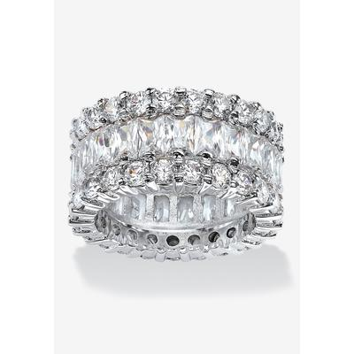Platinum over Silver Baguette Eternity Bridal Ring Cubic Zirconia by PalmBeach Jewelry in Silver (Size 10)