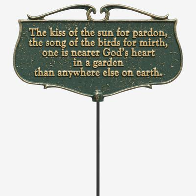 The Kiss of the Sun Garden Poem Sign by Whitehall Products in Green Gold