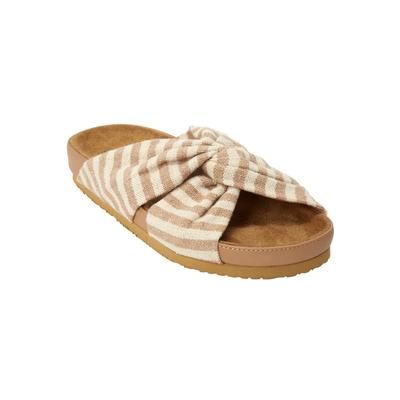 Extra Wide Width Women's The Reese Footbed Sandal by Comfortview in Khaki (Size 12 WW)