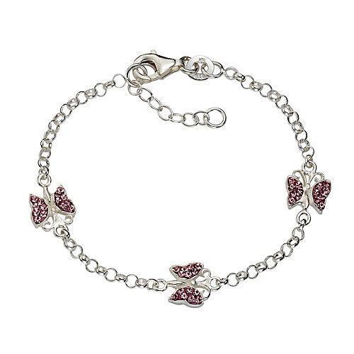 Armband 925/- Sterling Silber Kristall pink Kristall Armbänder weiß Mädchen Kinder