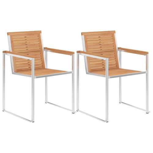 vidaXL Gartenstühle 2 Stk. Massivholz Teak und Edelstahl
