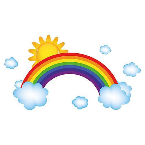 Wandtattoo Regenbogen mit Wolken und Sonnenschein Wandtattoos mehrfarbig