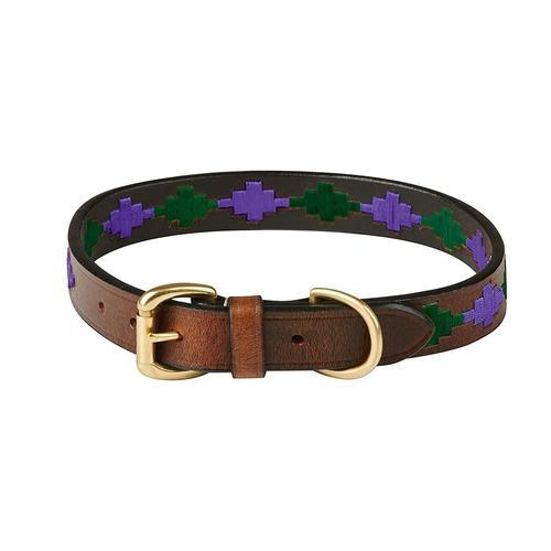 WeatherBeeta Hunde-Halsband Polo Leder-Hundehalsband, Textil, (1 St.) lila Hundehalsbänder Hund Tierbedarf