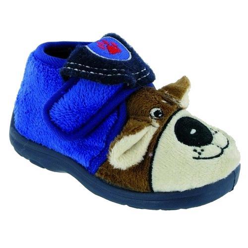 Mirak Hausschuh Jungen Tier e mit Klettverschluss blau Kinder Teenschuhe