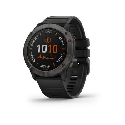 Garmin Camp & Hike Fenix 6X Pro Solar Multisport GPS Smartwatch Ti Carbon Gray DLC w/Black Band