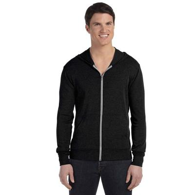 Bella + Canvas 3939 Triblend Full-Zip Lightweight Hoodie in Solid Black size Medium