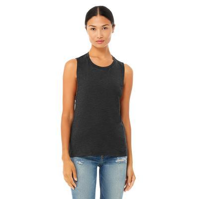 Bella + Canvas B8803 Women's Flowy Scoop Muscle Tank Top in Dark Grey Heather size XL 8803