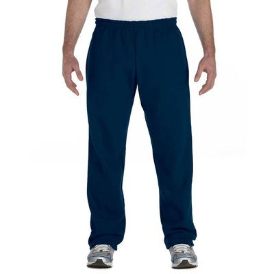 Gildan G184 Adult Heavy Blend 8 oz. 50/50 Open-Bottom Sweatpants in Navy Blue size XL | Cotton Polyester G18400, 18400