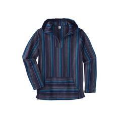Men's Big & Tall Gauze Pullover Hoodie by KingSize in Navy Stripe (Size L)