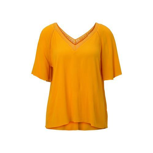 TOM TAILOR DENIM Damen Bluse aus Viskose-Crêpe in A-Shape, gelb, Gr.M