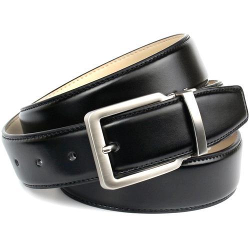 Anthoni Crown Ledergürtel, leicht bombiert mit Ton in Steppnaht schwarz Damen Ledergürtel Gürtel Accessoires