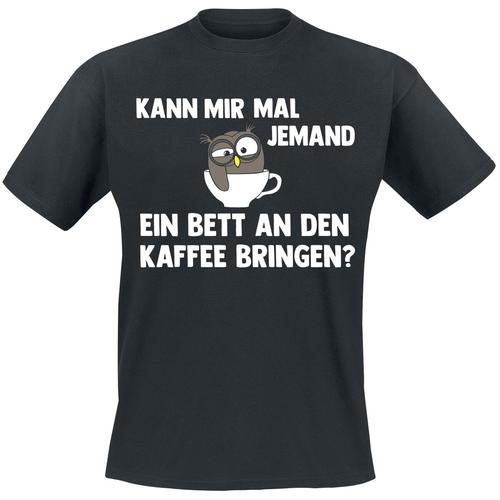Bett an den Kaffee Herren-T-Shirt - schwarz