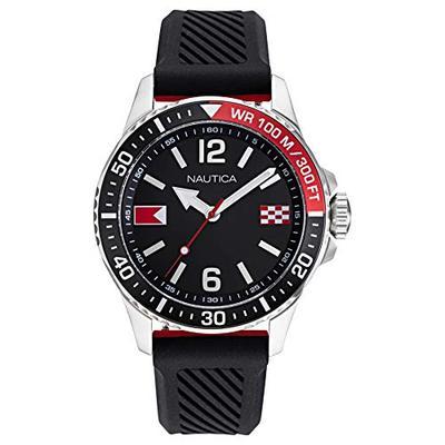Nautica Men's NAPFRB926 Freeboard Black/Red Silicone Strap Watch Box Set
